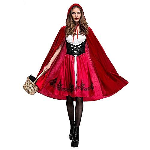 IMEKIS Donna Cappuccetto Rosso Abito Costume Cosplay di Carnevale Halloween Natale Principessa Fiaba Vestito e Mantello con Cappuccio Vestire da Festa Festivo Rosso L