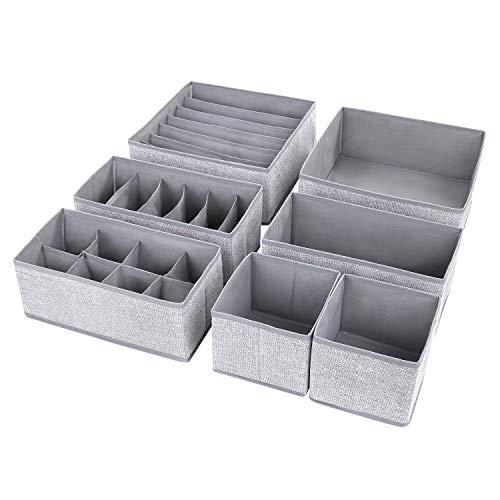 DIMJ Aufbewahrungsbox für Schublade, 7 Stück Faltbox Kleiderschrank Organizer, Schrank und Schubladen Ordnungssystem für BHs, Unterwäsche, Socken,Hemden, Spielzeug, Büromaterial