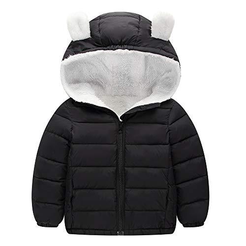 Mamum Manteaux bébé, Manteau de Bébé de Mode, Veste Chaude Hiver, Doudoune à Capuche, Enfant Garçon Fille Parka Blousons (Noir, 100(18-24Mois))