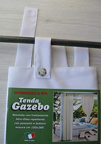 Imperial Pannello Tenda Gazebo RESINATA CONFEZIONATA con ASOLE SGANCIABILE Art ID 596 Colore Bianco