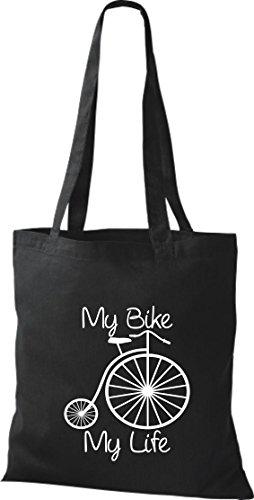 Stoffbeutel Fahrrad my bike my life BMX Kult Baumwolltasche, Beutel , Farbe schwarz