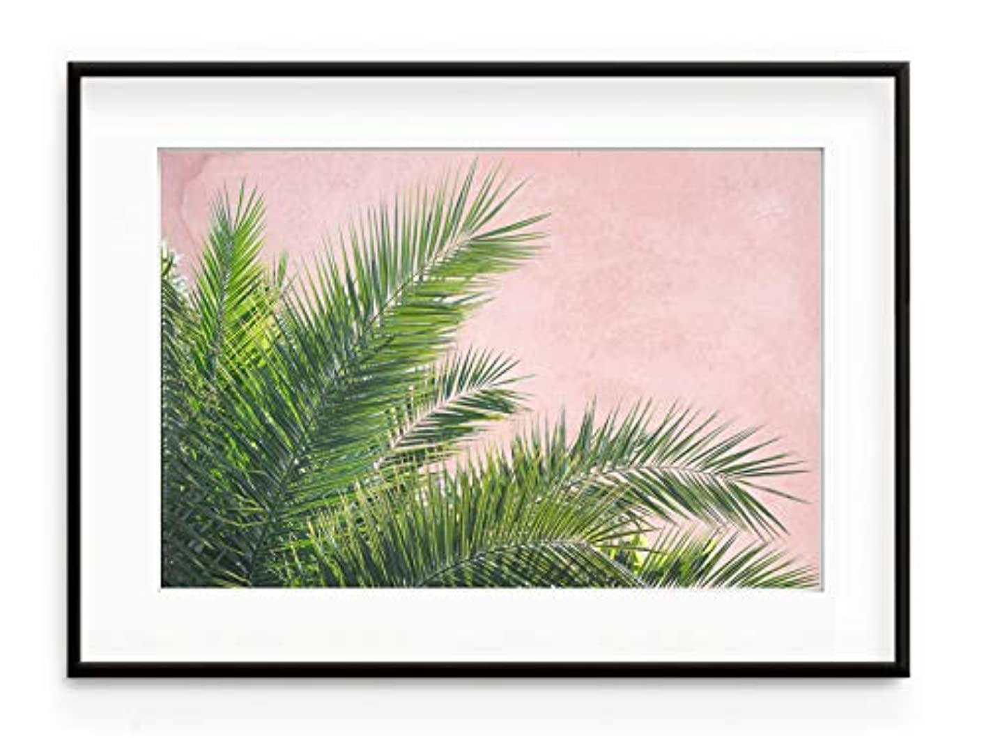Plant on Pink Fins - Black Satin Aluminium Frame with Mount, Multicolored, 70x100