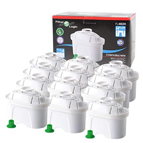 FilterLogic FL402H | Filterkartuschen für Tischwasserfilter kompatibel mit Brita Maxtra Wasserfilter  - 12er Pack