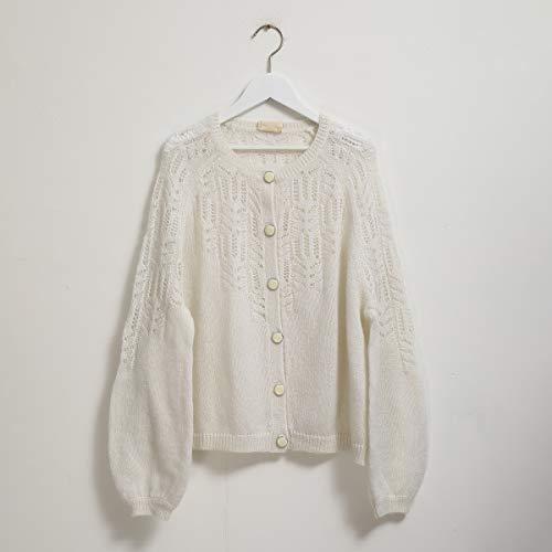 hengxiang Suéter de lana para mujer, manga larga, cuello en V, elegante, informal, cálido, cárdigan vintage 2020 (color beige, talla: L)