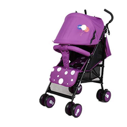 Carritos y sillas de Paseo Cochecito de Verano Plegado Ultraligero Puede Sentarse reclinable Bebé Portátil Verano Malla Transpirable Paraguas Carro Bebé Sillas de Paseo (Color : Purple)