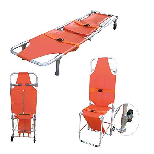 Camilla rescate emergencia plegable Silla plegable aluminio Camilla Ambulancia Silla de escalera de evacuación para bomberos con 2 pies de apoyo y 2 ruedas de guía Fácil de transferir en el suelo