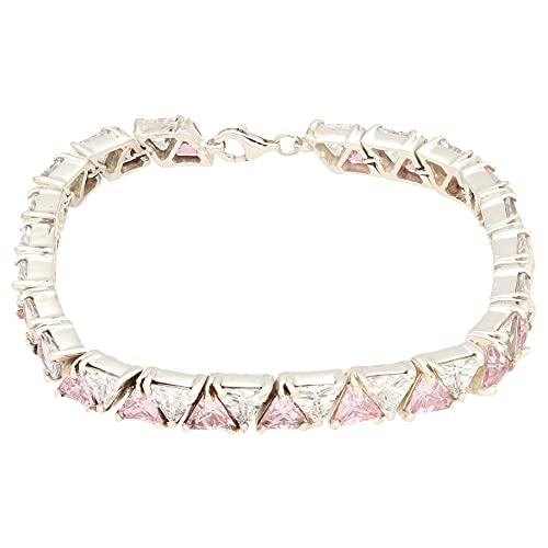 Jollys Jewellers Pulsera de tenis de plata de ley de 19,7 cm con piedras preciosas de imitación (6 mm de ancho)