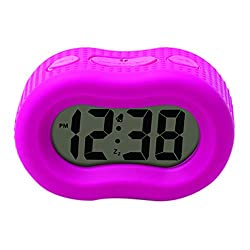 Timelink Smartlight Pink Digital Rubber Outer Shell Alarm Clock for Bedrooms Travel, for Kids Girls, Simple Operation, Automatic Green Smart Night Light Dimmer, Large 1 Display, Snooze, Small