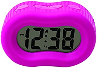 Timelink Smartlight Digital Rubber Outer Shell Alarm Clock for Bedrooms Travel, for Kids Girls, Simple Operation, Automatic Green Smart Night Light Dimmer, Large 1