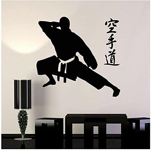 WYLYSD Karate Pegatinas De Pared Calcomanía Artes Marciales Karate Fighter Fight Deportes Calcomanía De Pared Para Dormitorio Karate Gym Decor 82X86Cm