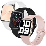 INZAKI Correa de Apple Watch 38mm 40mm, Reemplazo de Silicona Deportivo clásico Suave para iWatch Series 6/5/4/3/2/1, SE, Sport,S/M, Negro/Blanco/Rosa Arena