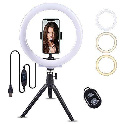 SUPERKIT LED Ringlicht,10.2' Selfie Ringleuchte Stativ mit Handyhalter und Fernbedienung mit 3 Leuchtmodi und 11 Helligkeitsstufen für TikTok, YouTube,Make-up, Live...