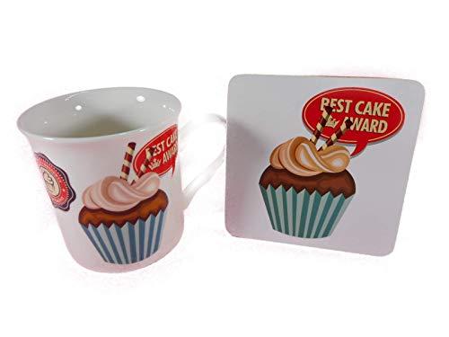 mug Best Cup Cake Leonardo Mac Neil GG 5189 A - Juego de 2 tazas y posavasos decorativos de porcelana