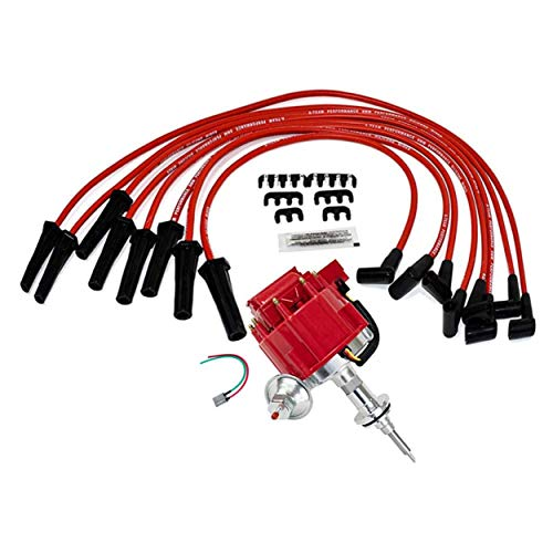 A-Team Performance Complete HEI Distributor Spark Plug Wires and Pig Tail Kit — Compatible with Mopar Chrysler Dodge Plymouth V8 Engines 273 318 340 340 360 — 65K Coil Red Cap One Wire Installation