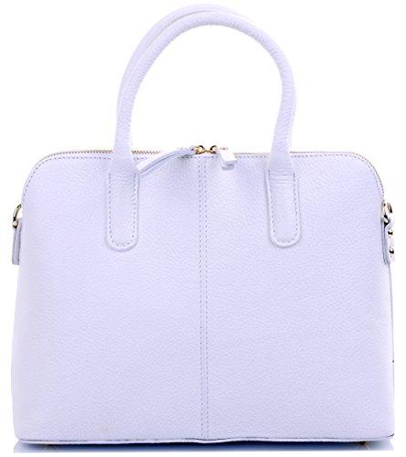 Primo Sacchi ® Italienisch texturierte weiße Leder Hand gemacht Bowling-Stil Tote Packtasche oder Schultertasche. Beinhaltet einen Markenschutz-Aufbewahrungsbeutel