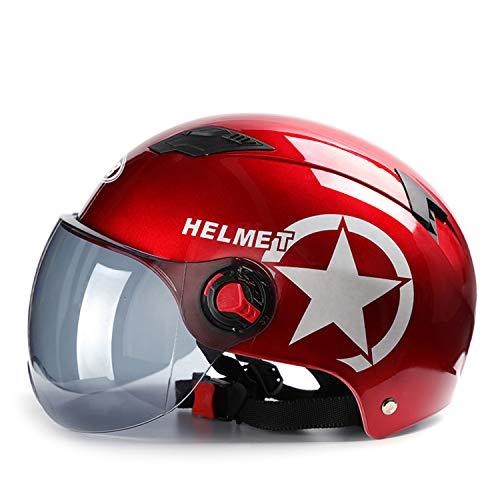 Galatée Erwachsenen Harley Motorradhelm Scooter-Helm, Mode halboffener Helm mit Schutzbrille,Der stoßfeste belüftete Helm schützt die Sicherheit des Benutzers (Rot, Braune Linse)
