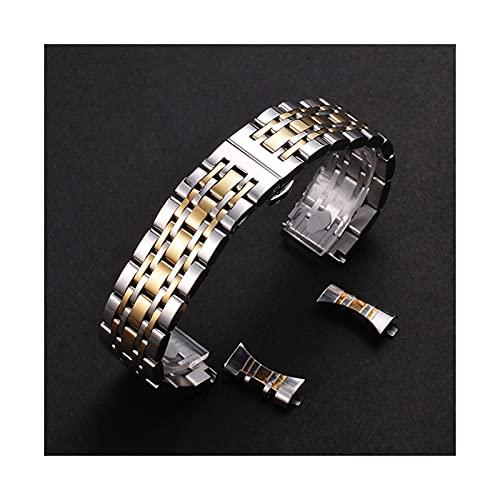 Correa de acero inoxidable transpirable de metal, pulsera de correa reemplazable Pulsera de acero inoxidable de liberación rápida de 12 mm a 26 mm (color de la correa: oro, ancho de la correa: 19