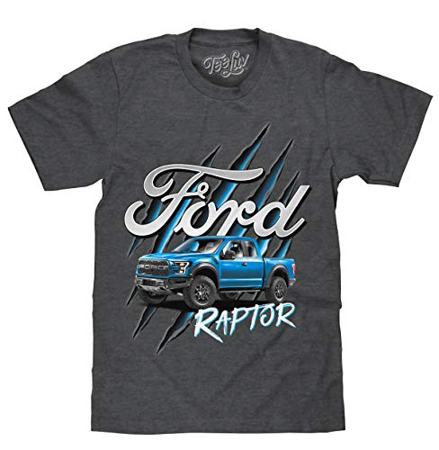 Tee Luv Ford Truck Shirt - Ford F-150 Raptor T-Shirt (Charcoal Heather) (XL)