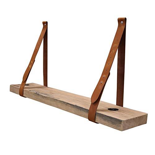 Steigerhoutpassie - Leren plankdrager - Cognac - Verstelbaar - Set - Eiken - Wagondeel Breed Geschaafd - 90cm