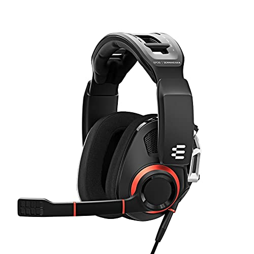 EPOS I SENNHEISER GSP 500 Wired Open Acoustic Gaming Headset, Noise-Cancelling Microphone, Adjustable Headband with Customizable Contact Pressure, Volume Control, PC + Mac + Xbox + PS4, Pro –Black/Red