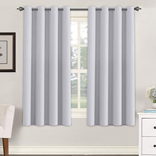 H.VERSAILTEX Blackout Room Darkening Thermal Insulated Grommet Window Curtains for Living Room, Greyish White,52x63-inch,2 Panels