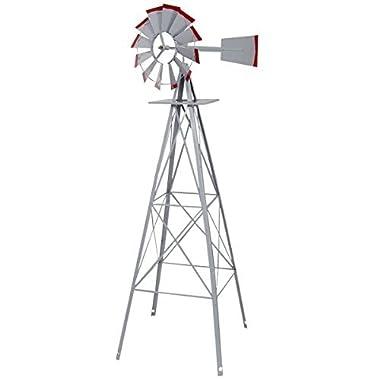 TANGKULA 8FT Windmill Yard Garden Metal Ornamental Wind Mill Weather Vane Weather Resistant (Grey)