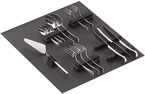 Gedotec Besteckhalter-Sortiment Besteckeinsatz selbstklebend mit Filzauflage | für 90-teiliges Besteck | Filz ist SCHWARZ | Besteckeinlage für Schubladen & Schubkasten | 1 Stück - Besteck-Halter Filz