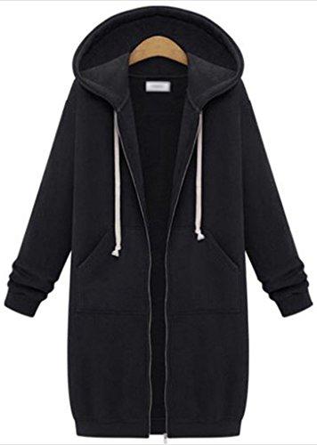 OMUUTR Damen Sweatjacke Zip Hoodie Kapuzenjacke Long Jacke Langarm Steppjacke MäntelJacke Warme Parka Kapuzenpullover Outwear S-5XL/36-50