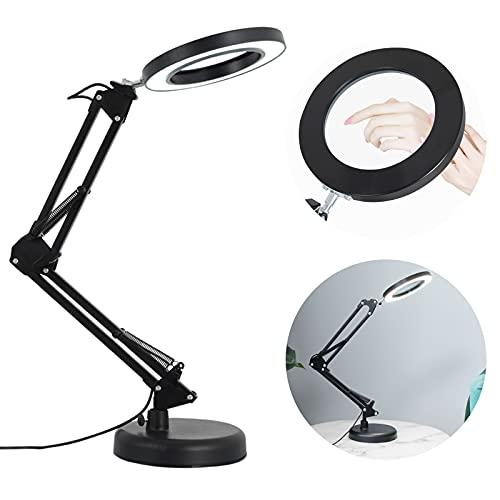 LED de Lupa, Lámpara Escritorio Lupa LED de 8X con Brazo Oscilante,72LED Lámpara de Escritorio, Luz Lámpara de Aumento lámpara de con 2700-6000K lúmenes,10 Modos de Brillo 3 de luz