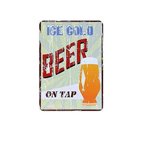 CWWAN Letrero de metal vintage de la lata de la cerveza fría en el grifo al aire libre del patio y del hogar, bar, hotel, decoración de pared de 20 x 30 cm
