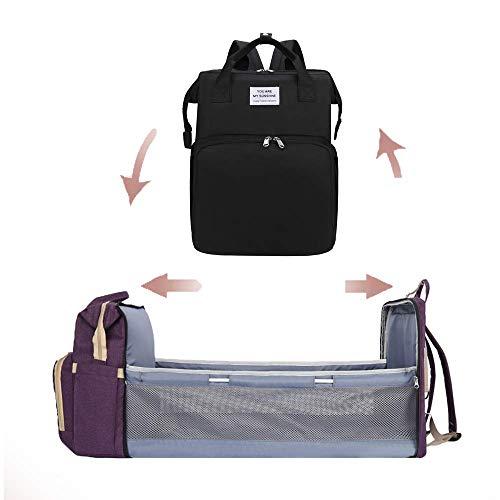 MaikcQ Último 3 en 1 portátil de gran capacidad, doble hombro con cambiador de cama, cama plegable para bebé, bolsa de bebé, cuna portátil, impermeabl