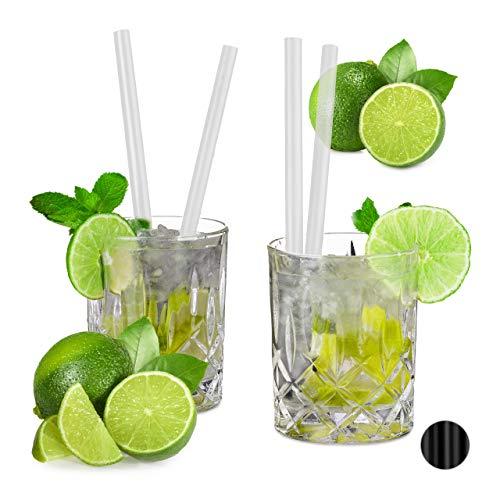 Relaxdays 50er Set Profi Gastro Strohhalme, Cocktail, Party, extrem starker Kunststoff, 10mm Ø, 20cm lang, Trinkhalme, transparent