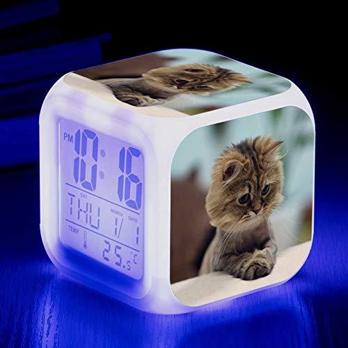 fdgdfgd Lindo y Colorido 3D LED Cuadrado Animal Gato Despertador Creativo pequeño Reloj Despertador pequeño Regalo Estudiante niños