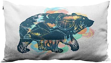 Yeuss Decorative Throw Pillow Cover Great Outdoor Adventure Magic Bear Double Exposure Color product image
