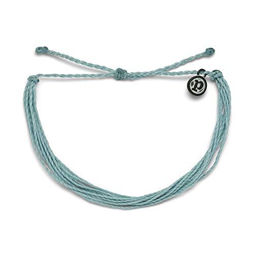 Pura Vida Original Smoke Blue Bracelet - 100% Waterproof, Adjustable Band - Plated Brand Charm