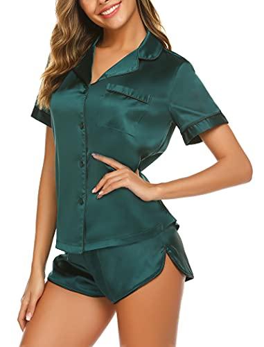 Ekouaer Women's Satin Pajamas Shorts Sets 2 Piece Sleepwear Short Sleeve Button-Down Pj Set (Dark Green,Medium)