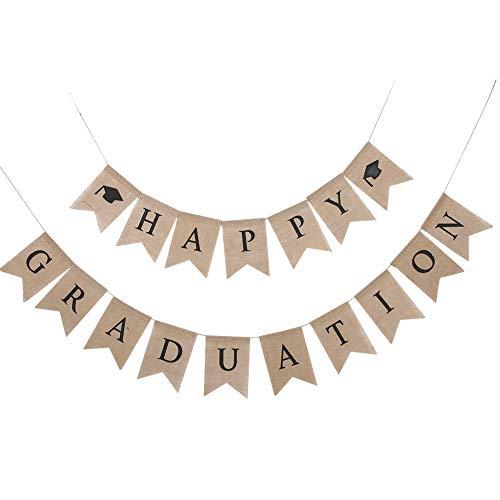 HERCHR Banner de Feliz graduación, Banner de felicitaciones de arpillera rústica para Decoraciones de graduación Grad Party College High School