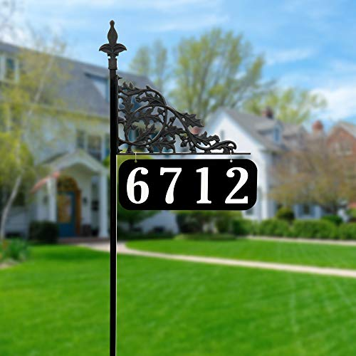 """Address America Custom Oak Leaf Design Reflective Address Sign with 47"""" Pole - Handcrafted in USA - Ready to Install Unique Yard Sign with Ultra-Reflective House Numbers"""