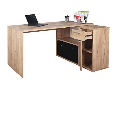 RICOO WM083-EG Schreibtisch Holz Eiche Gold Winkelkombination Arbeitstisch Bürotisch Computertisch Eckschreibtisch Akten Schrank Lowboard