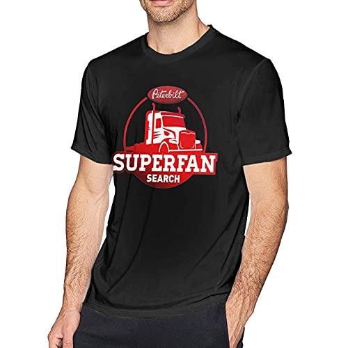 huatongxin Peterbilt Truck Comfortable Comfort Camiseta de Manga Corta de algodón para Hombre, Color Negro