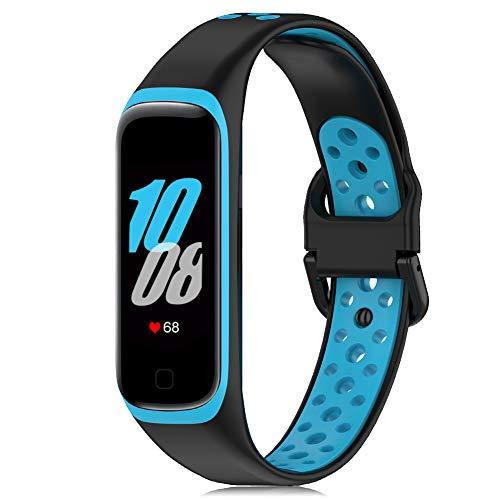 Onedream Correa Compatible para Samsung Galaxy Fit 2 R220 Banda, Silicona Pulsera Reemplazo Deportivo Accesorios para Mujer Hombre Negro-Azul