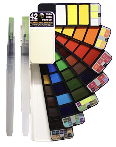 Li'l Davinci Watercolor Paint Set, 42 Assorted Colors Foldable Paint Set with 2 Water Brushes, Travel Pocket Watercolor Kit (1 Pack)