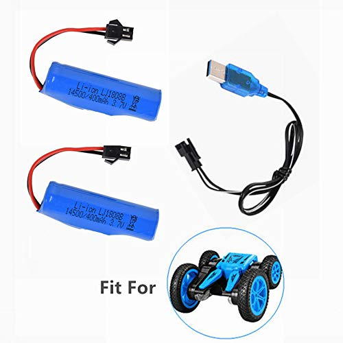 3.7V 400mAh Rechargeable Battery for Electric RC Car Upgrade Lithium Battery for Double Sided Rotating Tumbling RC Stunt Car Monster Truck 2 Pack with USB Charger