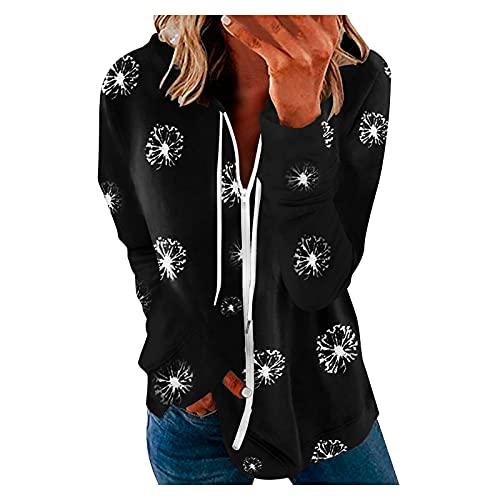 Zldhxyf Sudadera con capucha para mujer, tallas grandes, sudadera con cremallera, chaqueta básica, monocolor, sudadera con capucha, blusa, casual, sudadera con capucha, Negro-1., S