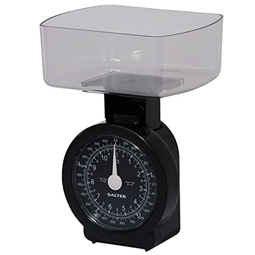 Salter 114 BKCLDR Bilance da Cucina Meccanica Compatta capacità 5 kg, Sistema Metrico Piu Misure Imperiali, Cromo, Nero, 9 x 13.5 x 17.5 cm
