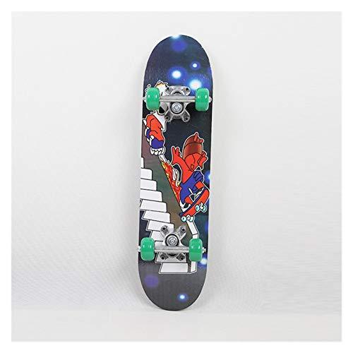 HFQJTU Crianças Skate Placa de Skate Quatro Rodas Criança Scooter Longboard Polia Paca Dupla Snubby Bordo Skate Liga Patins (Cor : Weird Music Alloy)