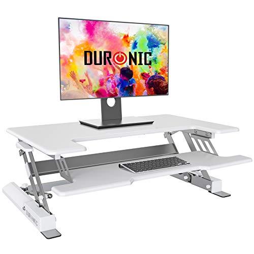 Duronic Sit-Stand Desk DM05D1WE [WHITE]   Height Adjustable Office Workstation   92x56cm Platform   Raises 16.5-41.5cm   PC Computer Screen, Keyboard, Laptop Riser   Ergonomic Desktop Table Converter