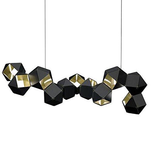 Ttr Galleria di Arte creativa villa Bar lampadario lampadario Hotel alluminio Lampadario metallo sfaccettato Lampadario, black