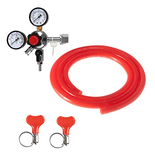 Beer Keg CO2 Regulator CGA320 -Brand LUCKEG Kegerator Regulator with Safety Pressure Relief Valve, Include 5ft Red Gas Line and Worm Clamps for Home Brewing Keg Kegging