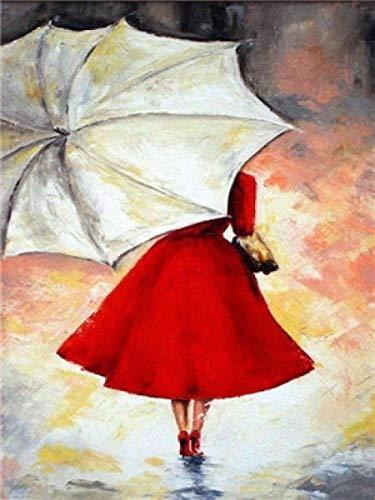 xuhpiar DIY Digital Malereikit Frau Mit Regenschirm Malen Nach Zahlen Kits Für Erwachsene Anfänger Kinder, 40X50Cm Creative DIY Digitales Ölgemälde Leinwand Home Haus Dekor